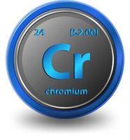 élément chimique de chrome. symbole chimique avec numéro atomique et masse atomique. vecteur