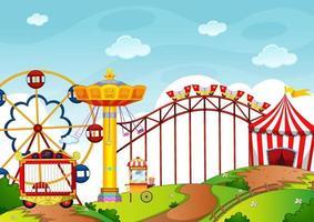 parc d'attractions avec de nombreux manèges et boutiques vecteur