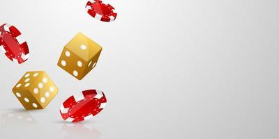 conception de jackpot de bannière de casino avec jetons et dés vecteur