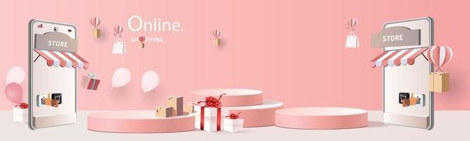 achats en ligne sur téléphone avec podium papier art fond rose moderne avec vecteur d'illustration de coffrets cadeaux.