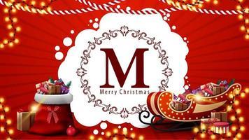 joyeux noël, carte postale rouge avec logo de voeux rond, guirlandes, sac du père noël et traîneau du père noël avec des cadeaux