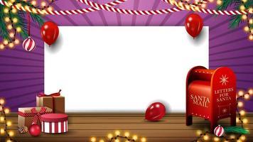 modèle de Noël pour votre créativité avec une feuille de papier vierge blanche, des ballons, des guirlandes, des cadeaux et une boîte aux lettres du père Noël