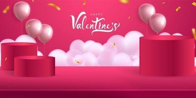 saint valentin, modèle de maquette de bannière avec podiums et ballons vecteur