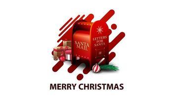 Joyeux Noël, carte postale moderne blanche avec des formes liquides abstraites rouges et boîte aux lettres du père Noël avec des cadeaux vecteur