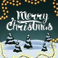 joyeux noël, carte postale de voeux carrée avec paysage d'hiver de dessin animé. soir, coucher de soleil vert, pins, neige
