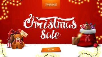 vente de Noël, bannière moderne rouge pour site Web avec guirlande, bouton, sac de père Noël et cadeau avec ours en peluche