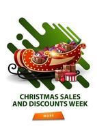 Ventes de Noël et semaine de remise, bannière de remise moderne blanche avec des formes liquides abstraites vertes et traîneau de père Noël avec des cadeaux vecteur
