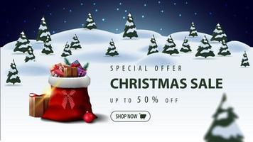 offre spéciale, vente de Noël, jusqu'à 50 de réduction, belle bannière de réduction avec sac de père Noël avec des cadeaux et paysage d'hiver de dessin animé sur fond vecteur