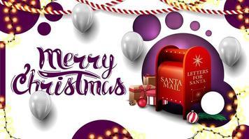 Joyeux Noël, carte postale blanche avec un design moderne avec des cercles violets et une boîte aux lettres du père Noël avec des cadeaux vecteur