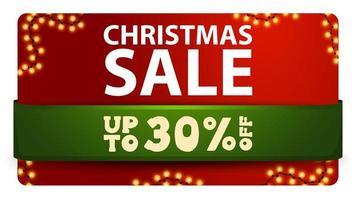 vente de noël, jusqu'à 30 de réduction, bannière de réduction rouge avec ruban vert et guirlande