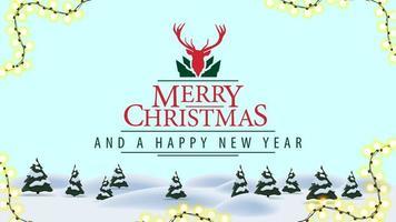joyeux noël et bonne année, carte postale avec paysage d'hiver de dessin animé et beau logotype de voeux avec cerf vecteur