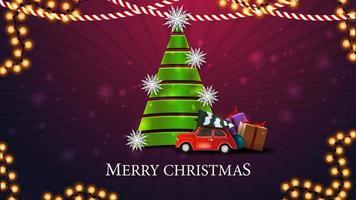 Joyeux Noël, carte postale violette avec arbre de Noël en ruban vert avec voiture vintage rouge transportant l'arbre de Noël