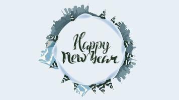Bonne année, carte de vœux ronde avec la silhouette de la planète, pins, dérives, montagne et ville,