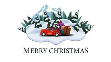 Joyeux Noël, carte postale moderne avec pins, dérives, montagne et voiture vintage rouge portant arbre de Noël