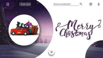 Joyeux Noël, carte de voeux violette et blanche pour site Web avec paysage d'hiver et voiture vintage rouge portant arbre de Noël