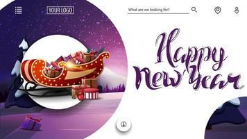 bonne année, carte de voeux rose et blanc pour site Web avec paysage d'hiver et traîneau de père Noël avec des cadeaux vecteur