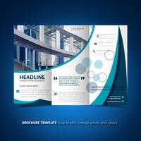 Brochure à trois volets de lumière bleue vecteur