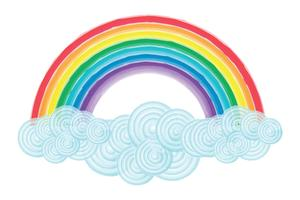 Aquarelle arc-en-ciel et nuages vecteur