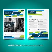 Modèle de conception de flyer brochure vert et bleu vecteur