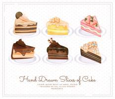 Tranches de gâteau dessinées à la main de vecteur