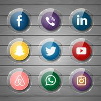 Icône de média brillant social sur bois vecteur