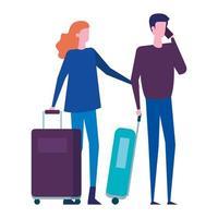 jeune couple amoureux avec valises de voyage vecteur
