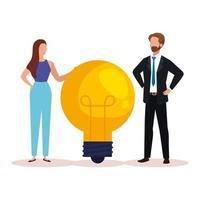 gens créatifs de femme et homme avec conception de vecteur ampoule