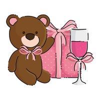 mignon ours en peluche avec boîte-cadeau et coupe de champagne vecteur