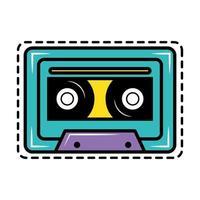 icône dautocollant cassette pop art vecteur