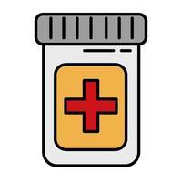 symbole de croix médicale en ligne de médicaments de bouteille et icône de style de remplissage