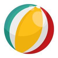 icône de style isolé ballon en plastique plage vecteur