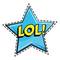 mot lol en icône autocollant star pop art vecteur