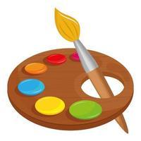icône de fournitures scolaires palette de peinture vecteur