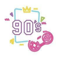 jeu de contrôle néon de style années 90 vecteur
