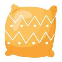 icône de style hygge oreiller jaune vecteur