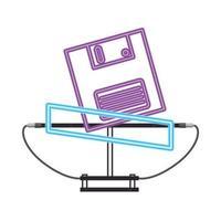 néon de style rétro disquette des années 90