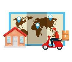 travailleur du service de livraison en moto avec maison et carte vecteur