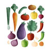 Légumes dessinés à la main de vecteur