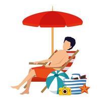 jeune homme avec maillot de bain assis dans une chaise de plage avec des icônes d'été vecteur