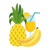 ananas aux fruits frais d'été avec cocktail et bananes vecteur