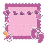 carte de douche de bébé avec sucette et couronne vecteur