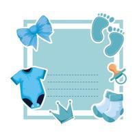 carte de douche de bébé avec vêtements et empreinte vecteur