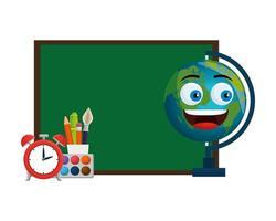 tableau de l'école avec carte du monde kawaii et fournitures vecteur