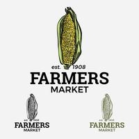 Logo du marché des producteurs de maïs vecteur
