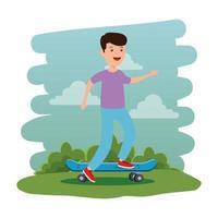 heureux jeune garçon en planche à roulettes sur la scène du parc