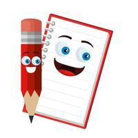 crayon école et cahier personnages kawaii vecteur