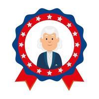 USA président homme à l'intérieur de la conception de vecteur de timbre joint