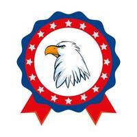 aigle usa isolé à l'intérieur de la conception de vecteur de timbre