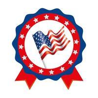 drapeau usa isolé à l'intérieur de la conception de vecteur de timbre joint