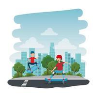 heureux, jeunes garçons, dans, skateboard, parc, à, route